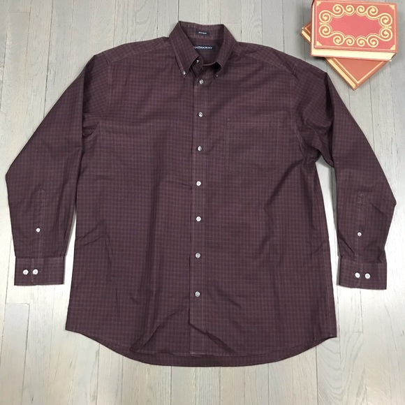 Vintage Other - Vintage Hathaway Non-Iron Check Button Down Shirt